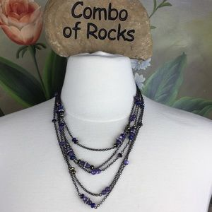 Coldwater Creek Multi Strand Faceted Bead Necklace